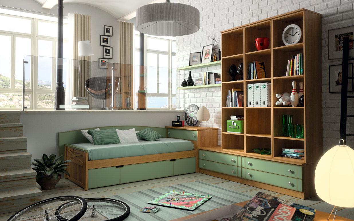 domitorio juvenil madera verde cajonera estantería cama
