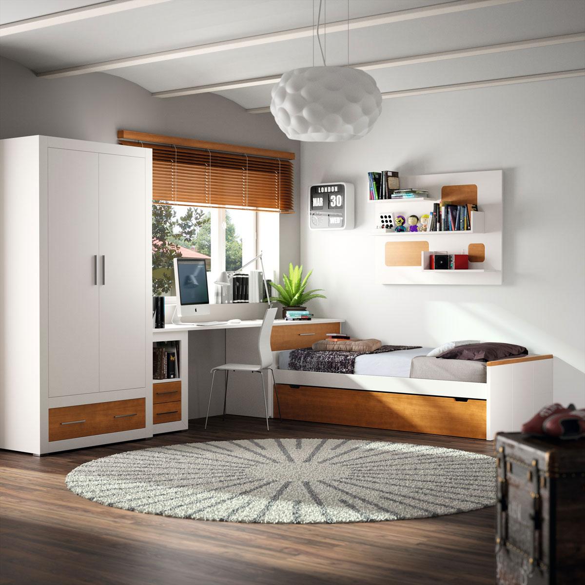 domitorio juvenil madera y blanco armario cama escritorio
