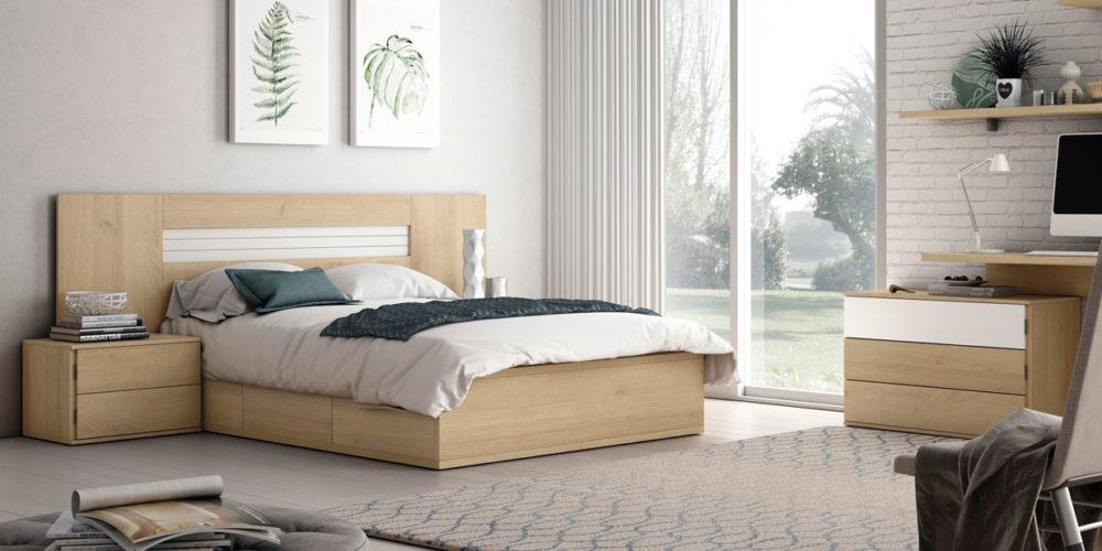 dormitorio principal natural cama matrimonio cómoda mesillas