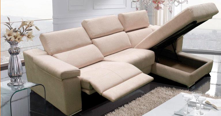 sofa chaise longue piel almacenaje reclinable muebles thermobel Segovia