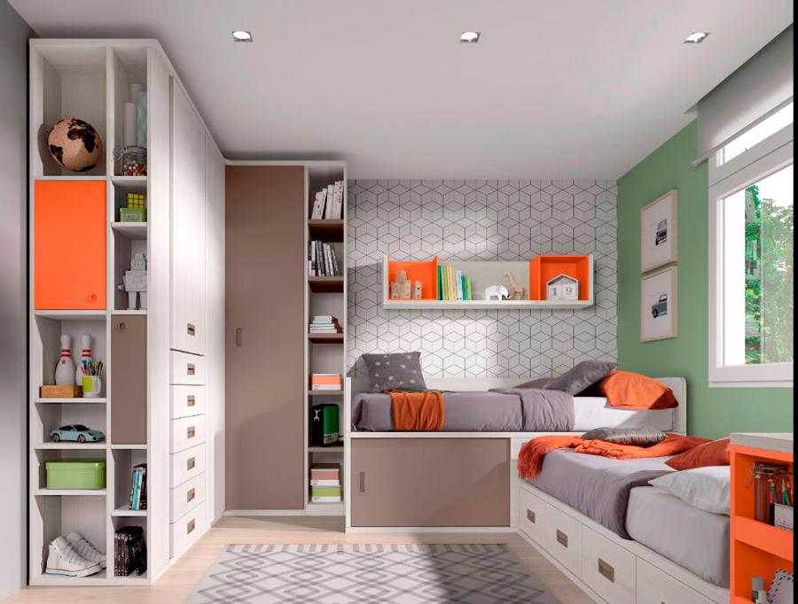 dormitorio juvenil cama alamacenaje modular armario ropero cajones estantería pared
