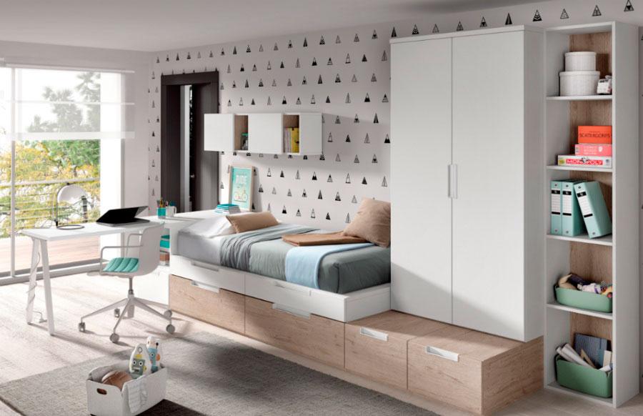domitorio juvenil estilo nórdico escritorio estantería cama indicidual armario ropero muebles Thermobel Segovia