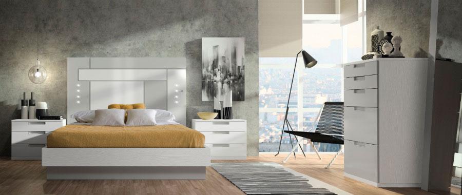 dormitorio principal cabecero geométrico cama doble mesillas noche cómoda muebles Thermobel Segovia