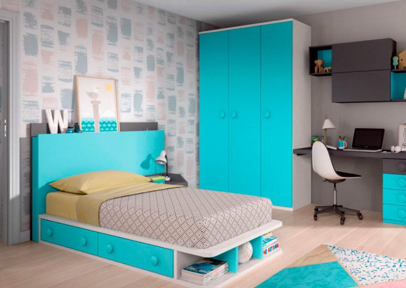 dormitorio juvenil cama almacenaje mesilla cabecero armario ropero escritorio cajones estantería pared muebles Thermobel Segovia