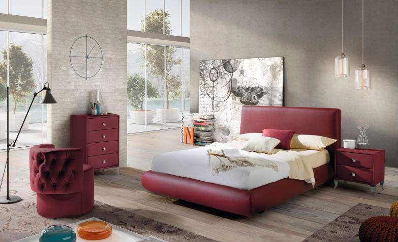 dormitorio principal burdeos cabecero cama doble mesilla noche cómoda butaca muebles Thermobel Segovia