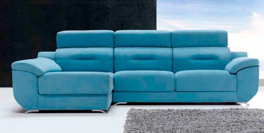 Sofá azul chaise longue muebles Thermobel Segovia