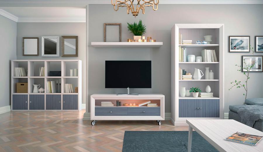 salones azul blanco mueble TV estantería cubos mesa centro
