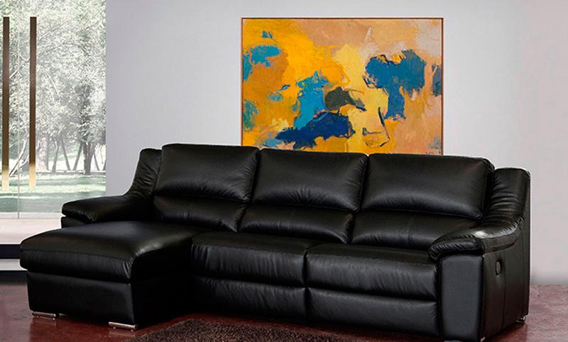 sofá chaise longue negro piel muebles Thermobel Segovia