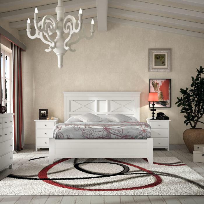 dormitorio principal cama matrimonio mesillas cómoda blanco