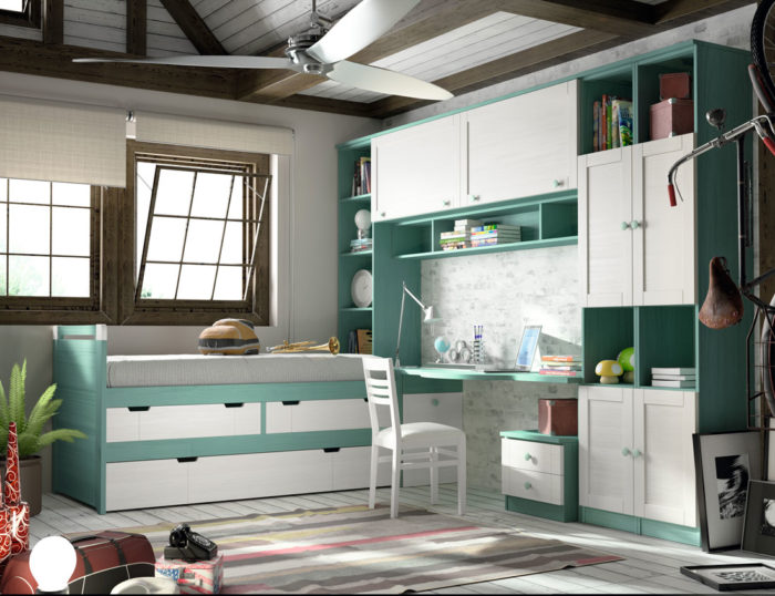 domitorio juvenil blanco turquesa estantería modular escritorio cama individual almacenaje