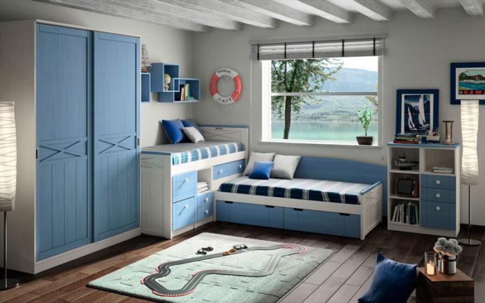 domitorio juvenil azul blanco armario estantería pared cama nido almacenaje cómoda