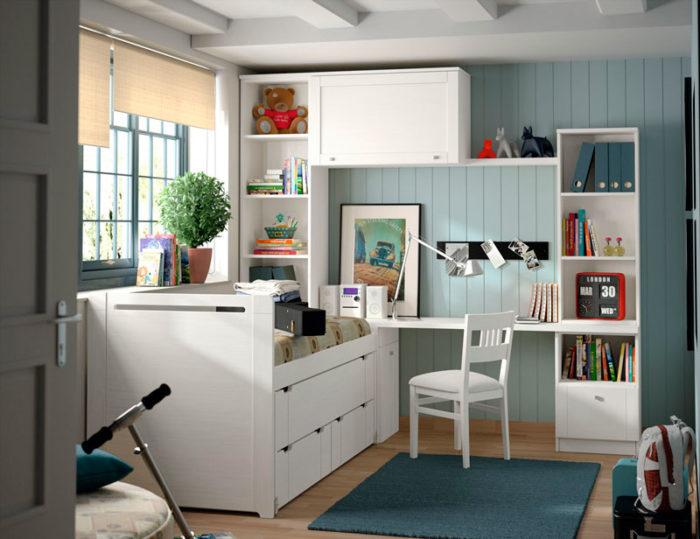 dormitorio juvenil cama almacenaje blanco estantería escritorio