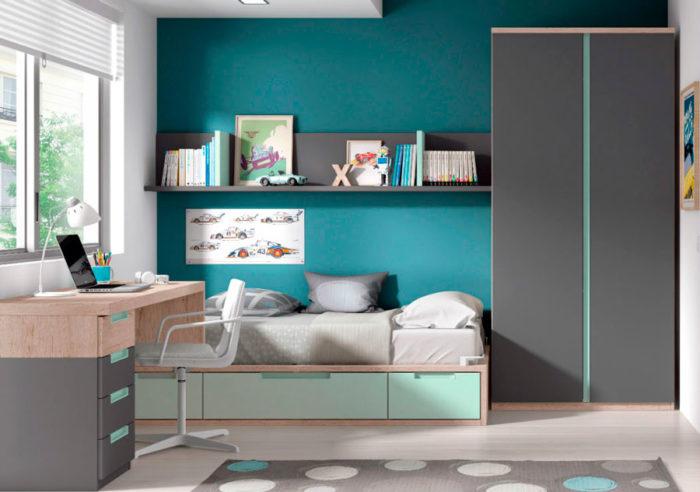 dormitorio juvenil escritorio cama baldas armario ropero muebles thermobel Segovia