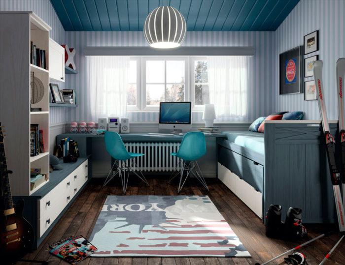 dormitorio juvenil cama nido estantería escritorio azul blanco muebles thermobel Segovia