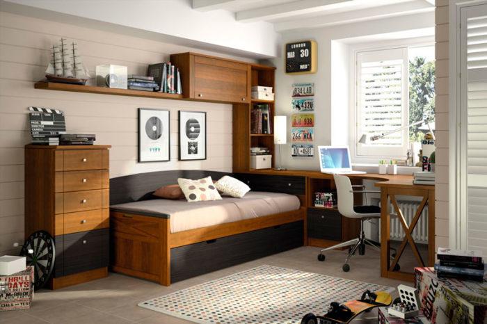 dormitorio juvenil cama nido mueble modular estanteria escritorio cómoda muebles thermobel Segovia