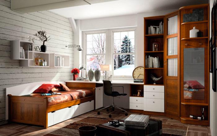 dormitorio juvenil cama nido madera blanco estantería escritorio armario muebles thermobel Segovia