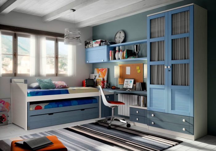 dormitorio juvenil cama nido almacenaje azul blanco estantería escritorio armario muebles thermobel Segovia