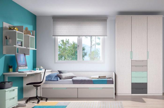 dormitorio juvenil cama individual almacenaje escritorio mesilla estatería pared armario ropero cajones muebles Thermobel Segovia