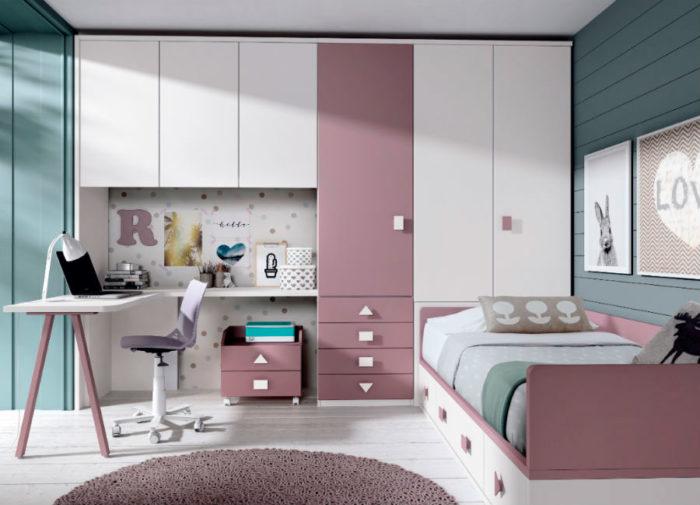 dormitorio juvenil cama individual almacenaje escritorio armario ropero cajones muebles Thermobel Segovia