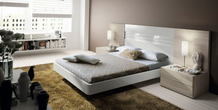 dormitorio principal cama doble estantería mesilla noche muebles Thermobel Segovia