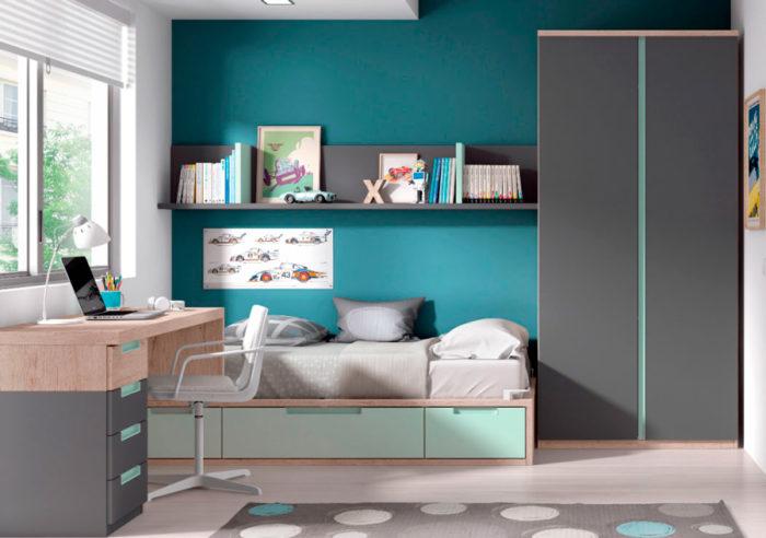 dormitorio juvenil cama individual almacenaje escritorio balda pared armario ropero cajones muebles Thermobel Segovia