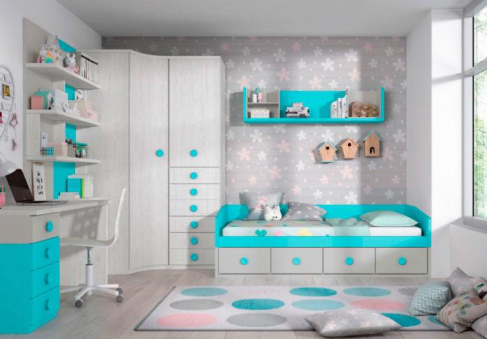 dormitorio juvenil cama individual almacenaje escritorio mesilla estantería pared balda armario ropero cajones muebles Thermobel Segovia