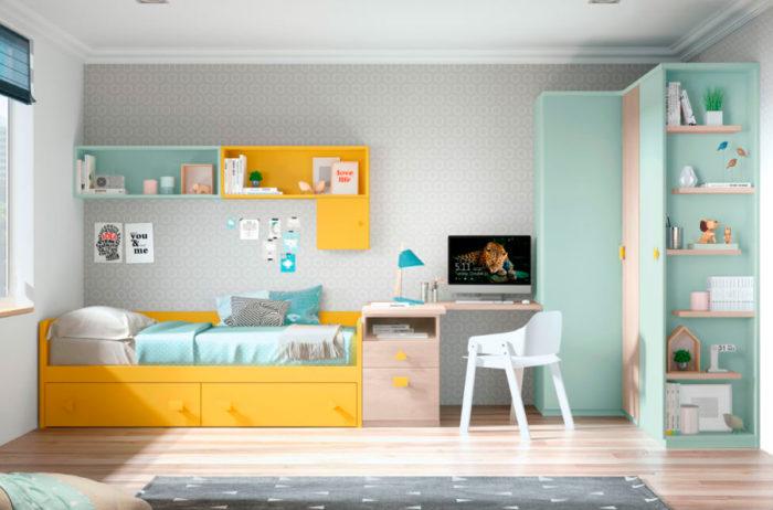 dormitorio juvenil cama individual almacenaje escritorio mesilla estantería pared armario ropero cajones muebles Thermobel Segovia