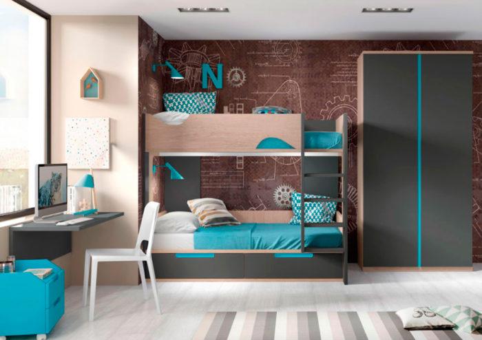 dormitorio juvenil litera almacenaje escritorio mesilla estantería pared armario ropero cajones muebles Thermobel Segovia