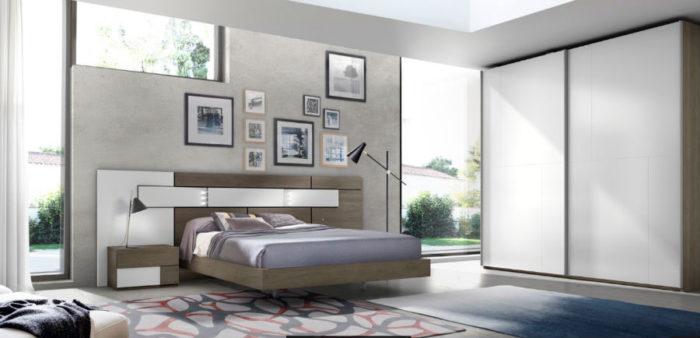 dormitorio principal cama doble mesillas noche cabecero armario ropero muebles Thermobel Segovia