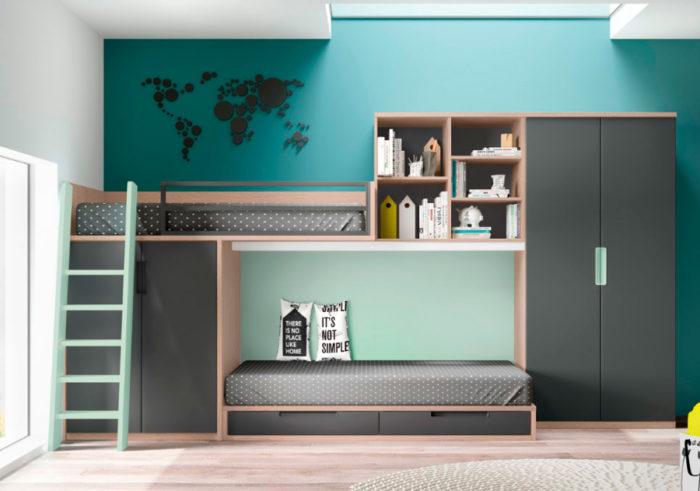 dormitorio juvenil litera almacenaje estantería armario ropero cajones muebles Thermobel Segovia