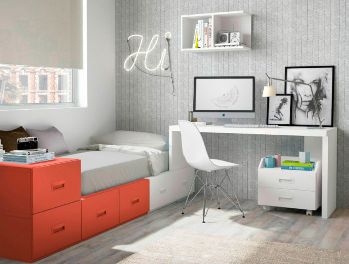 dormitorio juvenil cama individual almacenaje escritorio mesilla estantería pared cajones muebles Thermobel Segovia