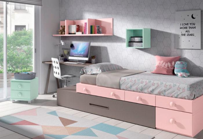 dormitorio juvenil cajonera estantería escritorio cama nido almacenaje muebles thermobel Segovia