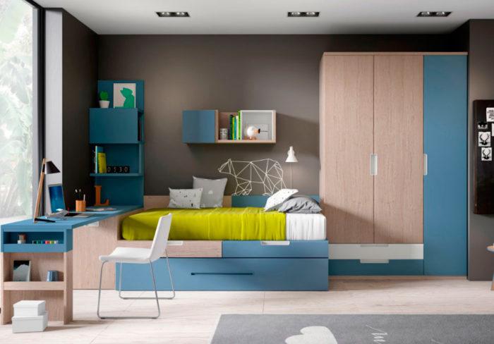 dormitorio juvenil azul escritorio cama nido almacenaje armario ropero cajones estantería muebles Thermobel Segovia