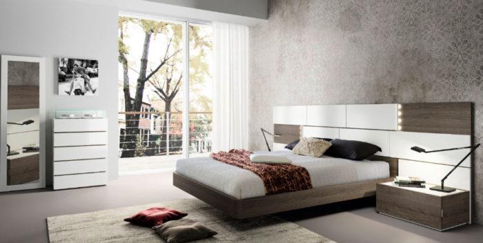 dormitorio principal cabecero geométrico luz cama doble mesillas noche cómoda muebles Thermobel Segovia