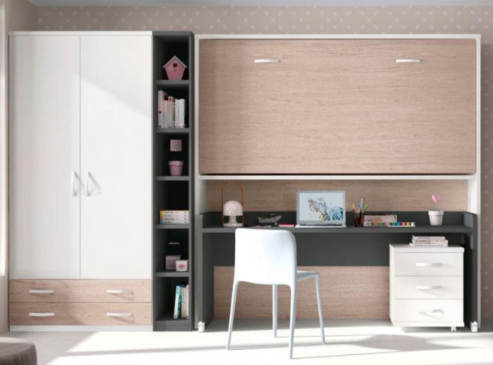 dormitorio juvenil escritorio cama plegable cajonera armario ropero muebles Thermobel Segovia