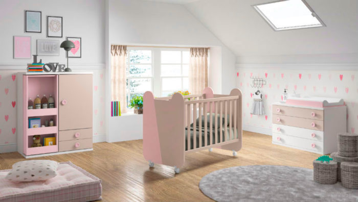dormitorio infantil cuna ruedas cómoda cambiador armario ropero muebles thermobel segovia