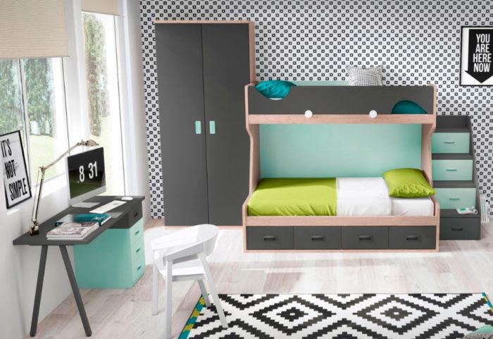 Domitorio juvenil litera escalera almacenaje escritorio cajones armario ropero muebles Thermbel Segovia