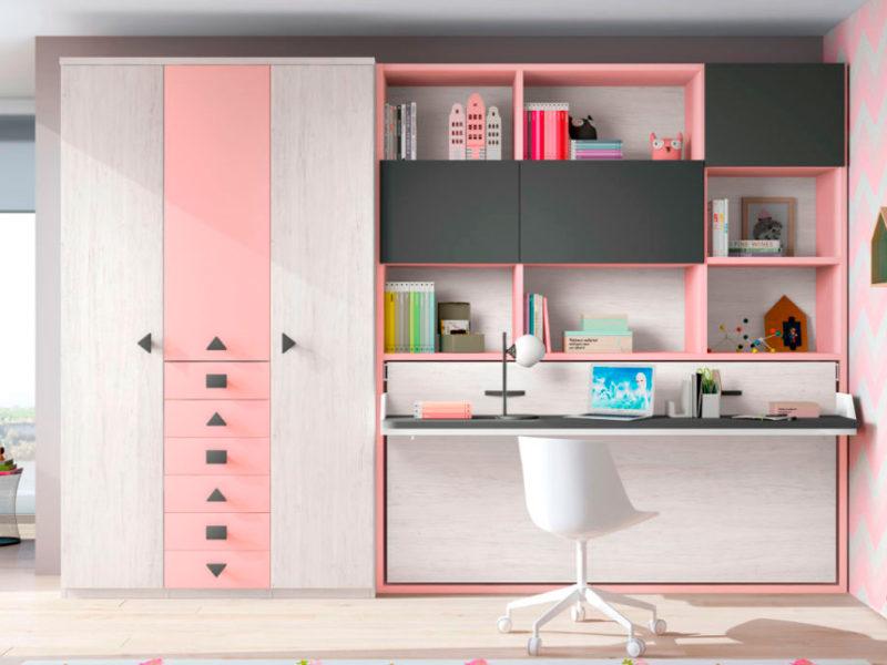 dormitorio juvenil cama plegable escritorio estantería armario ropero cajones muebles Thermobel Segovia