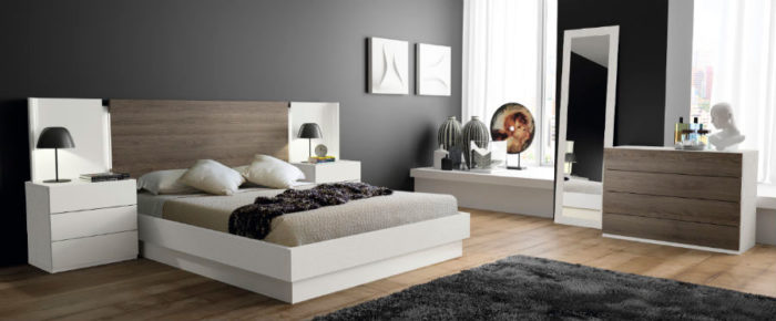 dormitorio principal cabecero cama doble mesillas noche cómoda muebles Thermobel Segovia