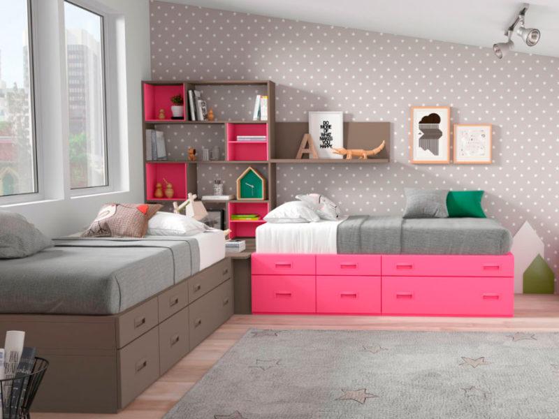 dormitorio juvenil cama almacenaje estatería balda muebles Thermobel Segovia