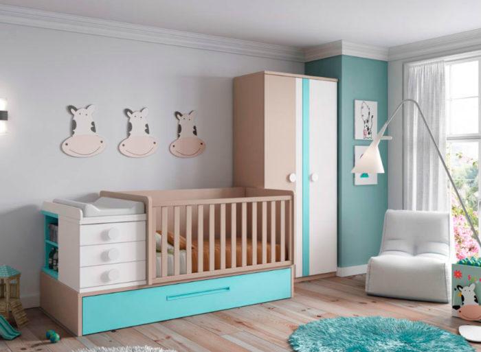 dormitorio infantil cuna nido cajones cambiador armario ropero muebles Thermobel Segovia