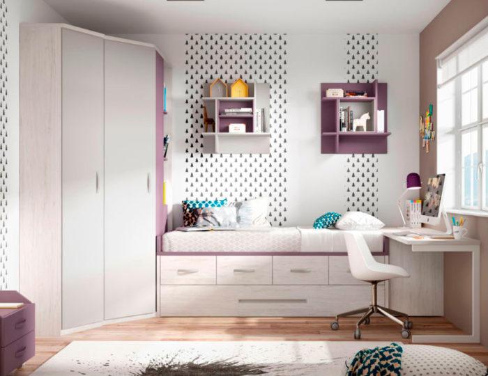 dormitorio juvenil cama nido almacenaje escritorio estantería pared armario ropero