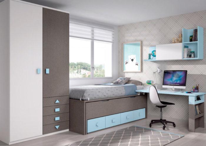 dormitorio juvenil cama nido almacenaje escritorio armario ropero estantería colgar pared muebles Thermobel Segovia