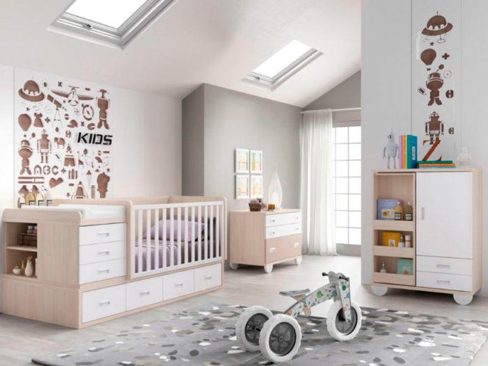 dormitorio infantil cuna cajones cambiador cómoda armario muebles thermobel segovia