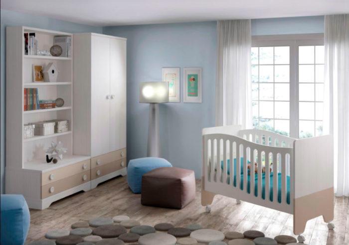 dormitorio infantil cuna ruedas armario ropero estantería muebles Thermobel Segovia