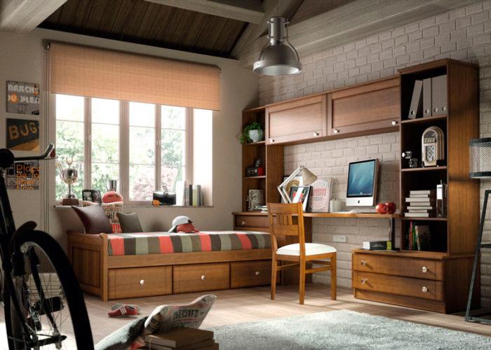 dormitorio juevnil cama almacenaje estantería escritorio cómoda muebles thermobel Segovia
