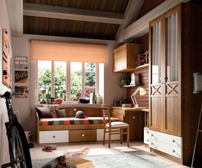 dormitorio juvenil cama almacenaje estantería escritorio armario madera blanco muebles thermobel Segovia