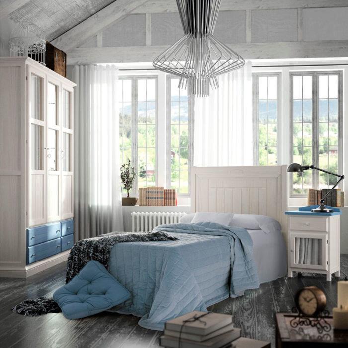 dormitorio principal vintage cabecero mesillas armario muebles thermobel