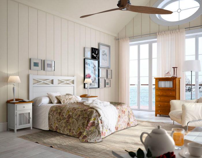 dormitorio principal cama matrimonio cabecero mesillas noche cómoda muebles thermobel Segovia