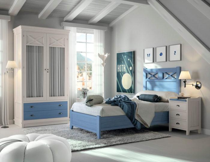 dormitorio juvenil azul blanco cama individual escritorio estantería cómoda armario ropero mesilla noche muebles Thermobel Segovia